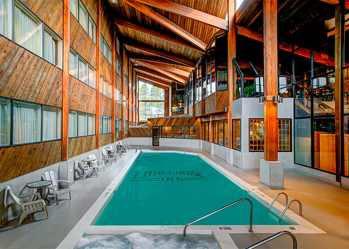 The Lake Louise interior pool and hot tub with large windows for ample natural light