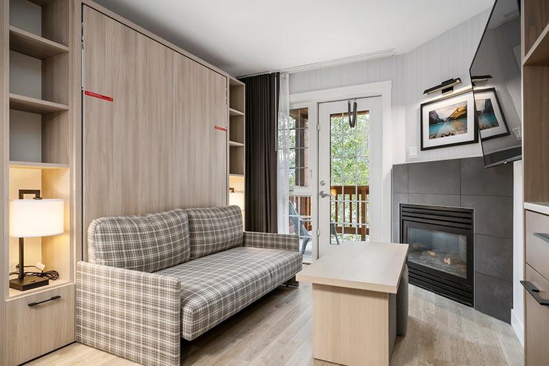 Queen murphy bed in living room,