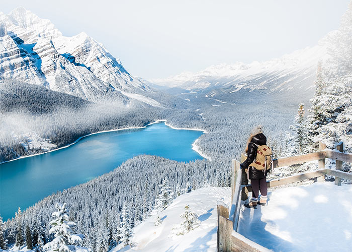Women at lookout overlooking Peyto Lake on a winter day