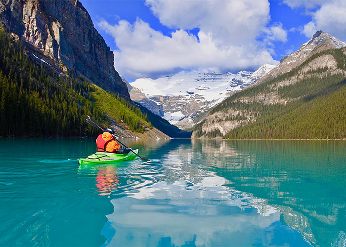 Kayaker on Lake Louise