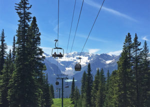 Ride the chair or the gondola up the mountain at Lake Louise Resort in summer