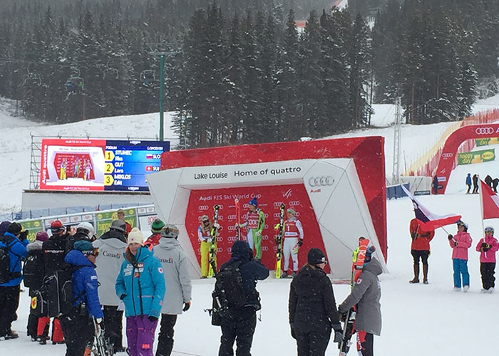 Award ceremony for ski race at Lake Louise Resort