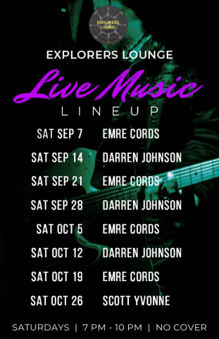 Live Music Saturdays, check facebook for details or call the hotel
