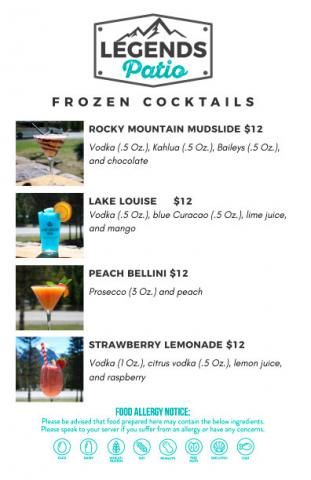 Legends Frozen Cocktails Menu on the Patio