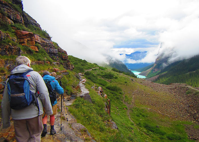 hikers on the Plain of Six Glaciers hike